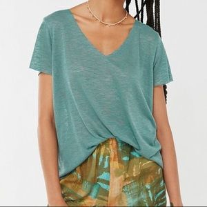 Urban Outfitters Textured Knit V Neck Tee